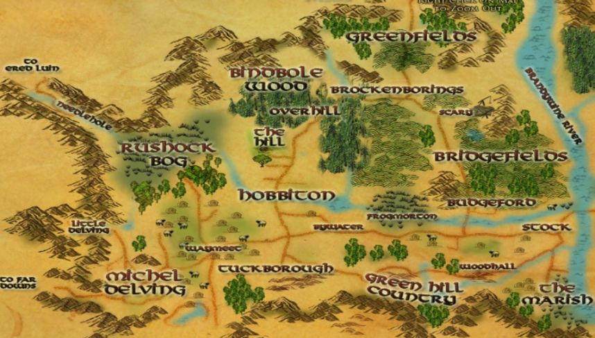 Map Of The Shire LOTRO Maps for the Shire
